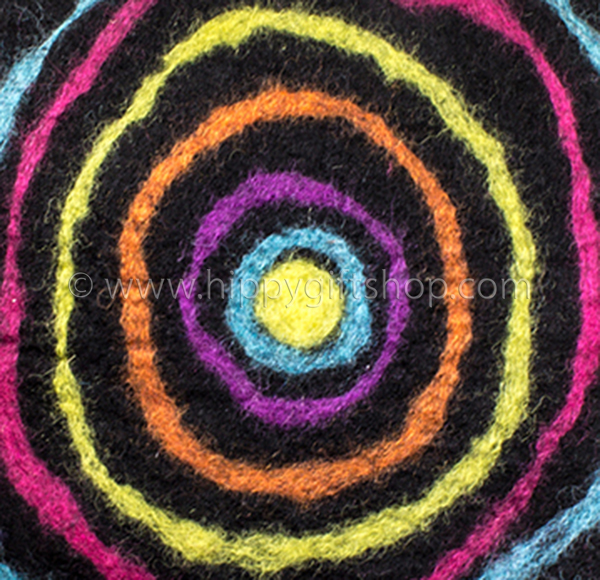 Handmade Felt Art Abstract Rainbow Circles