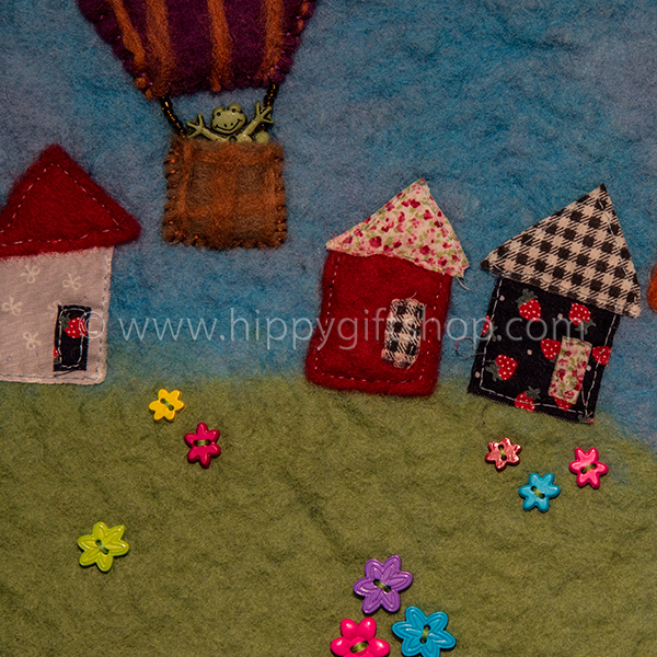 Handmade Felt Art Balloon in the Countryside (close up)
