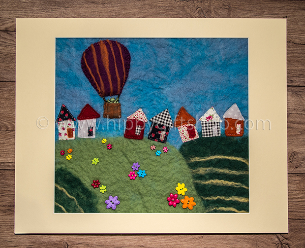 Handmade Felt Art Balloon in the Countryside