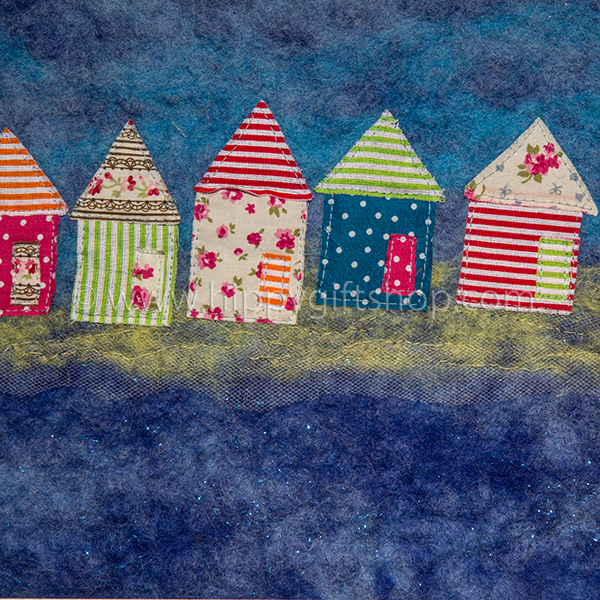 Handmade Felt Art Beach Huts (close up)